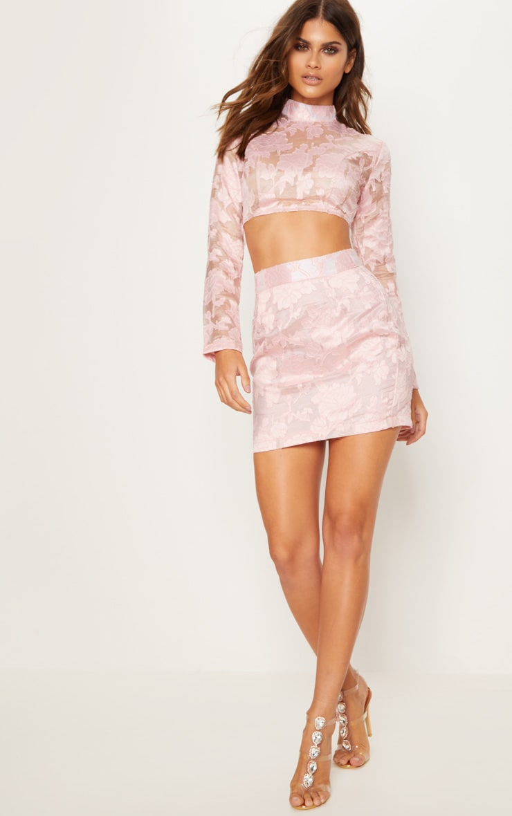 Rose Embroidered Mesh High Neck Crop Top 4