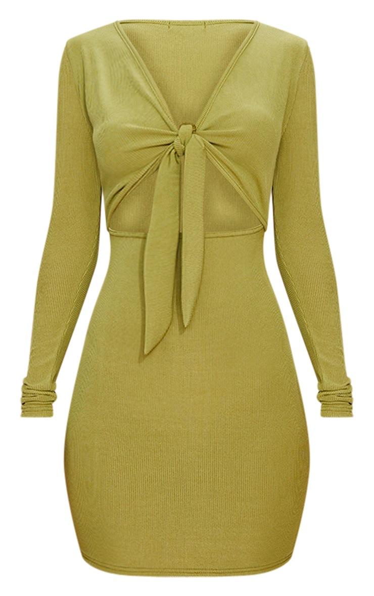 Khaki Ribbed Long Sleeve Tie Front Bodycon Dress 3