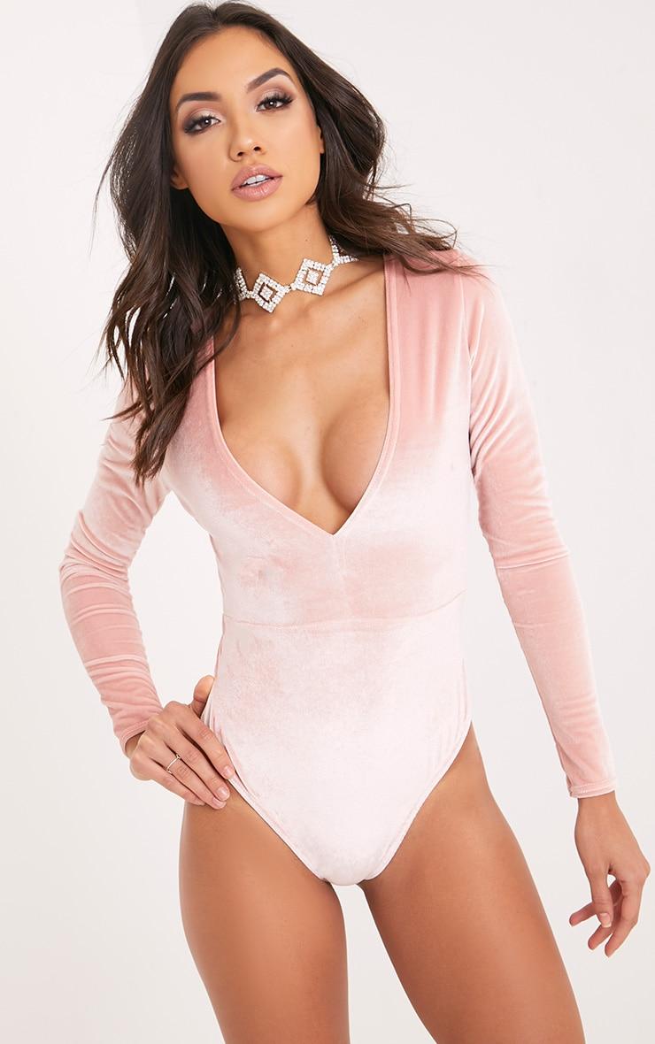 Sondra Ice Pink Velvet Plunge Longsleeve Thong Bodysuit 2
