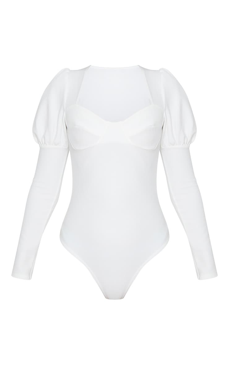 White Crepe Puff Sleeve Square Neck Bodysuit 3