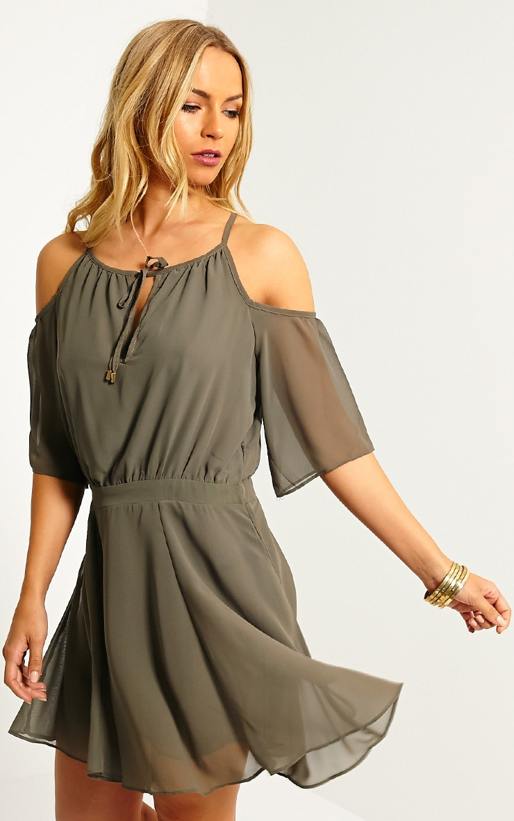 Emeline Khaki Cold Shoulder Skater Dress 1