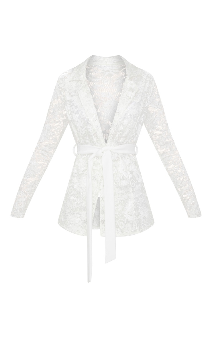 White Lace Belted Blazer 3