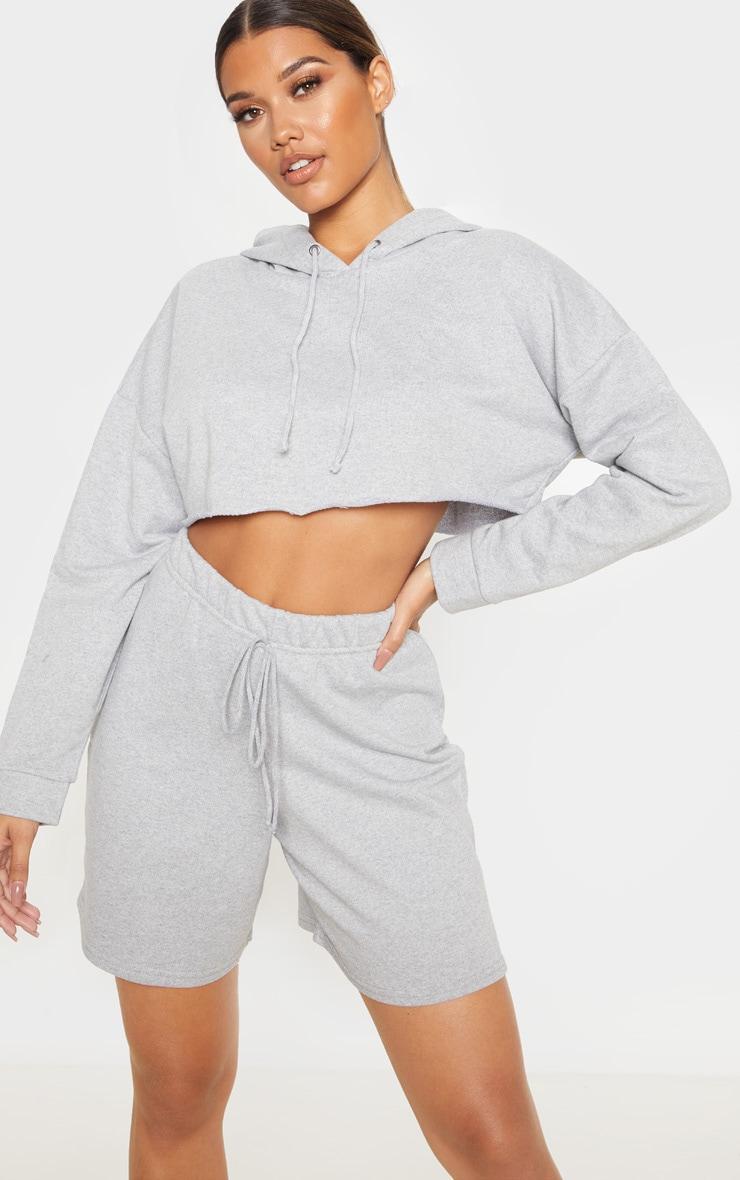 Grey Cropped Hoodie 1
