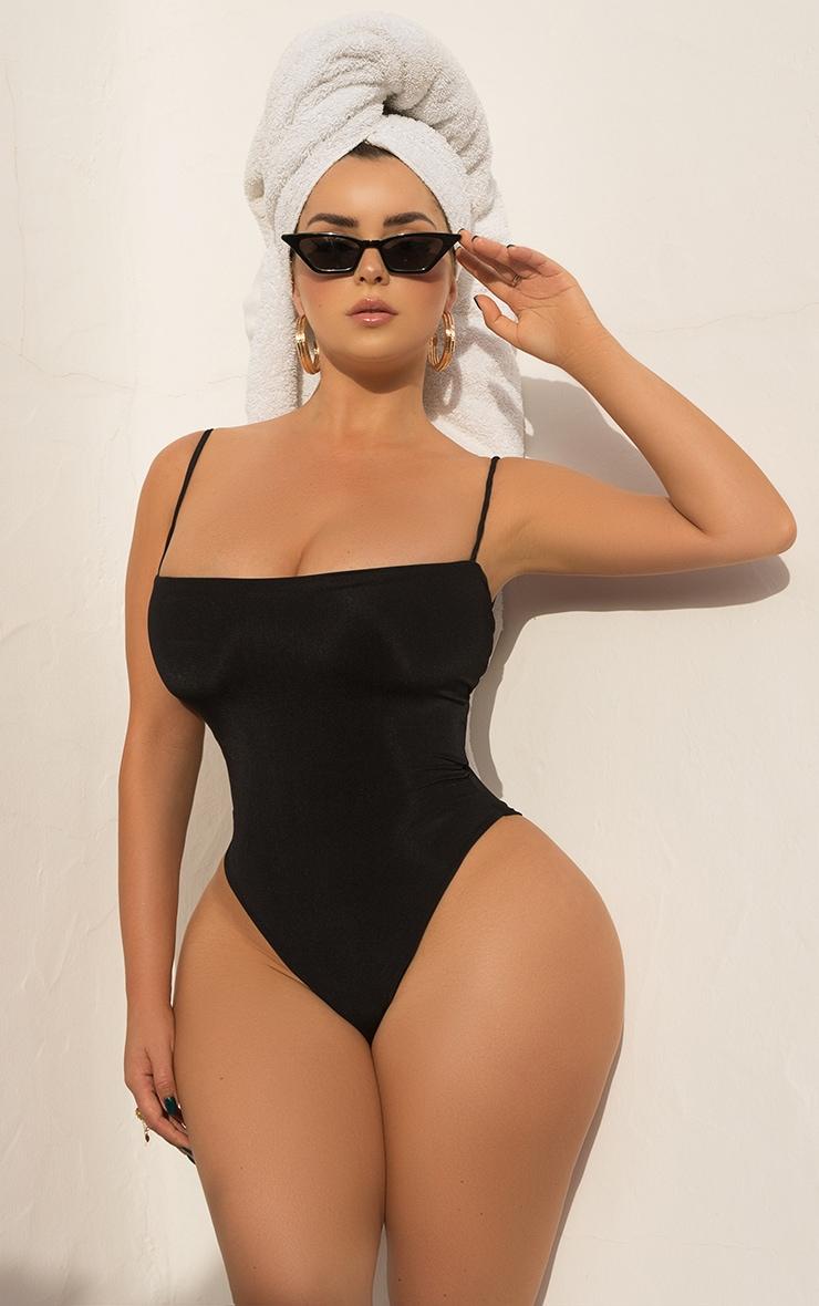 Black Straight Neck Swimsuit 1