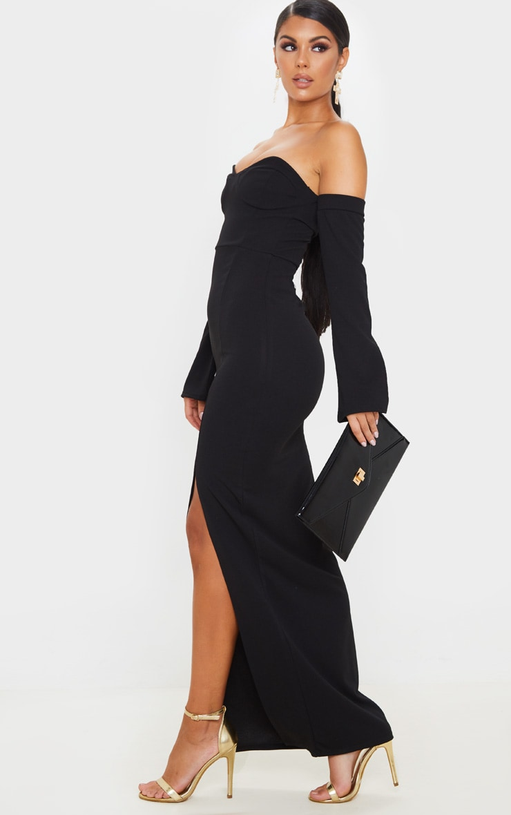 Black Cup Detail Bardot Sleeve Maxi Dress 4