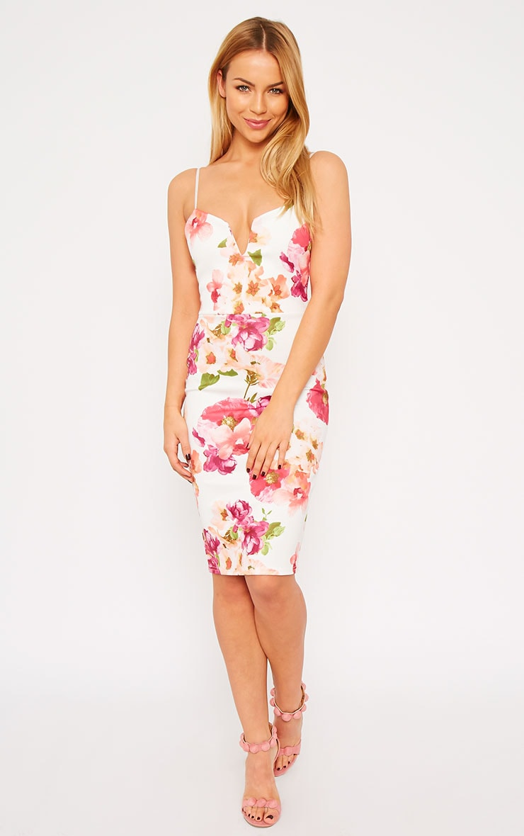 Sahana Cream Floral Print Scuba Midi Dress 1