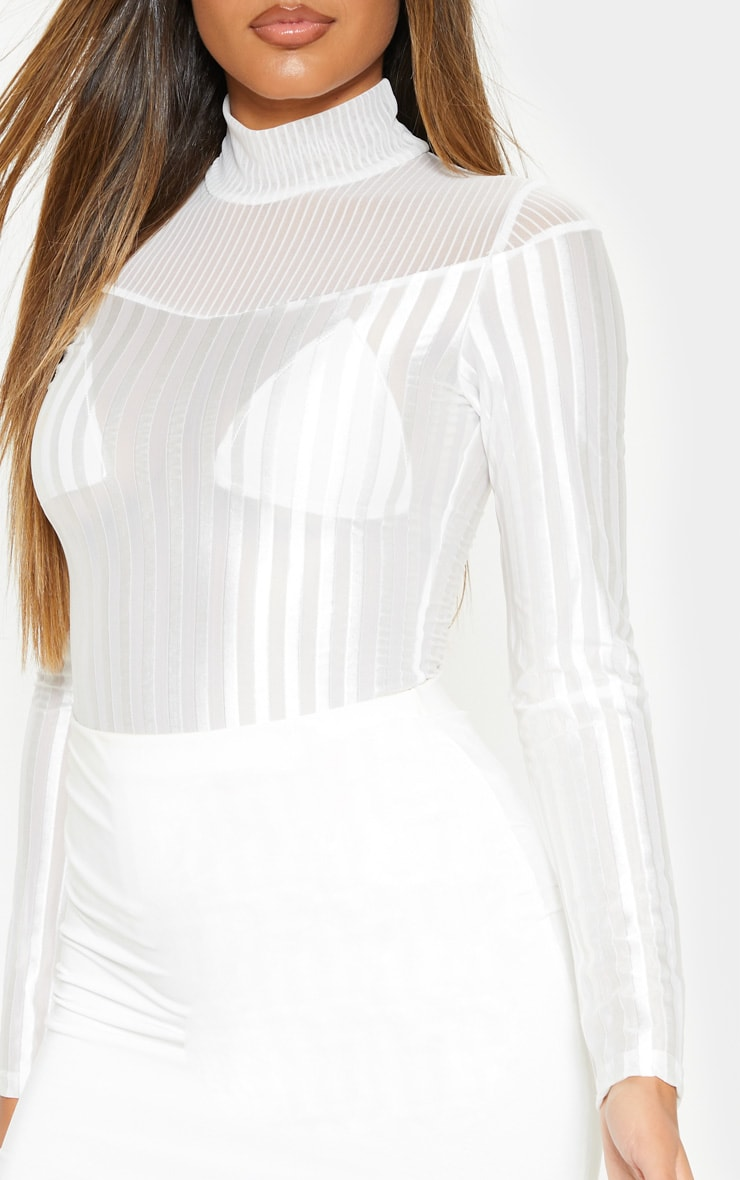 White Velvet Stripe Sheer Long Sleeve Top 5