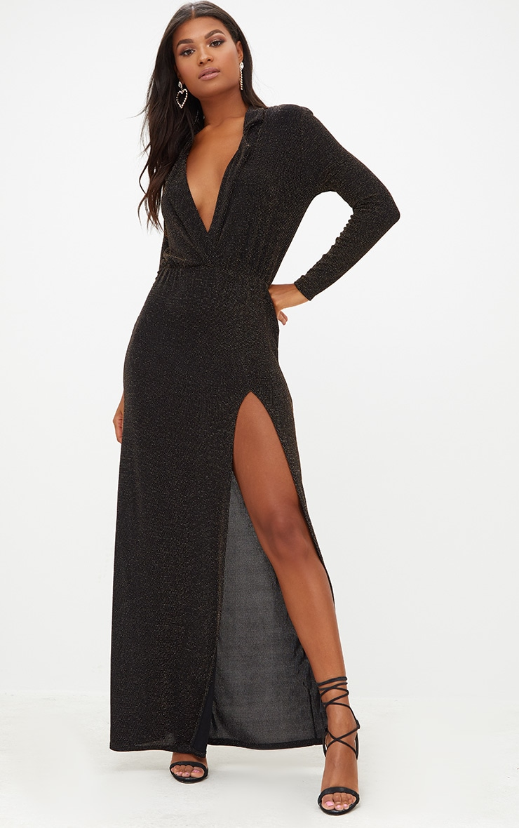 Black Lurex Plunge Long Sleeved Maxi Dress 1