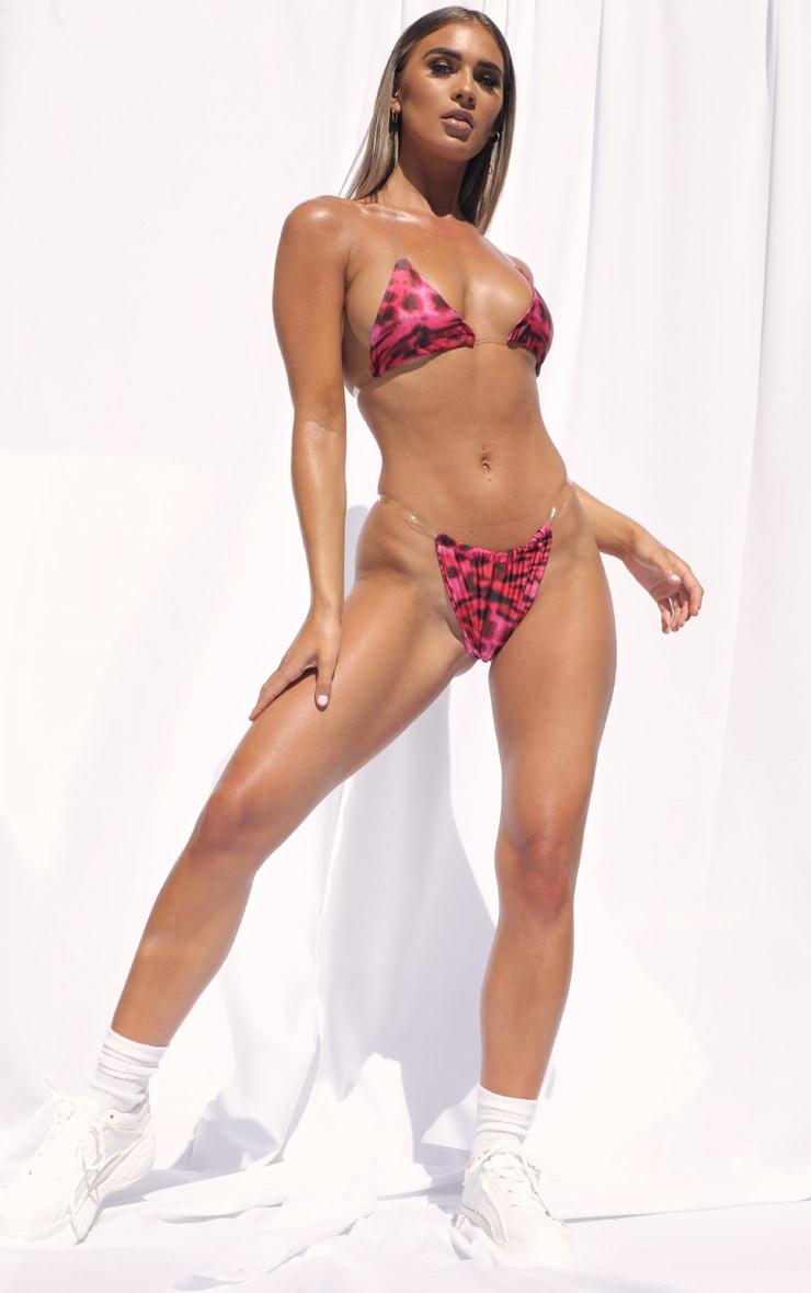 Pink Leopard Clear Strap Tanga Bikini Bottom 4