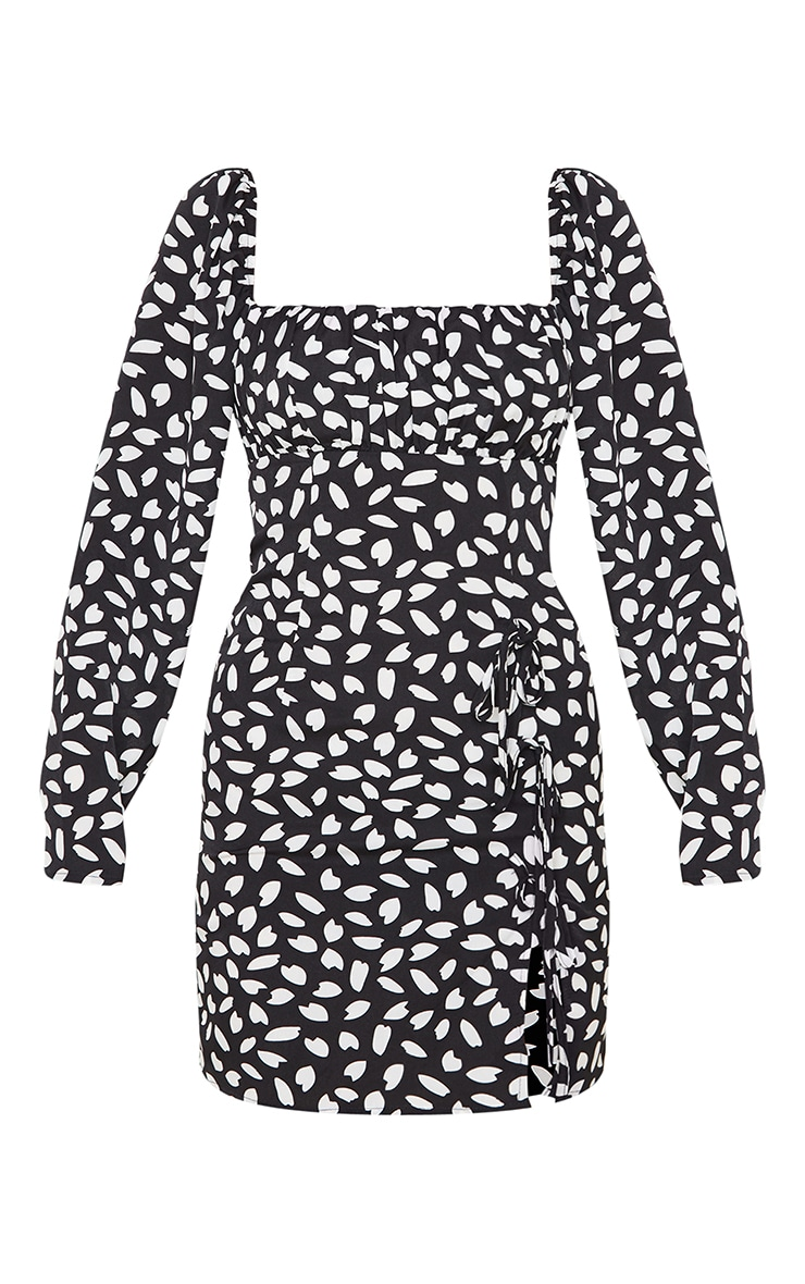 Black Dalmatian Print Bow Detail Side Split Bodycon Dress 3