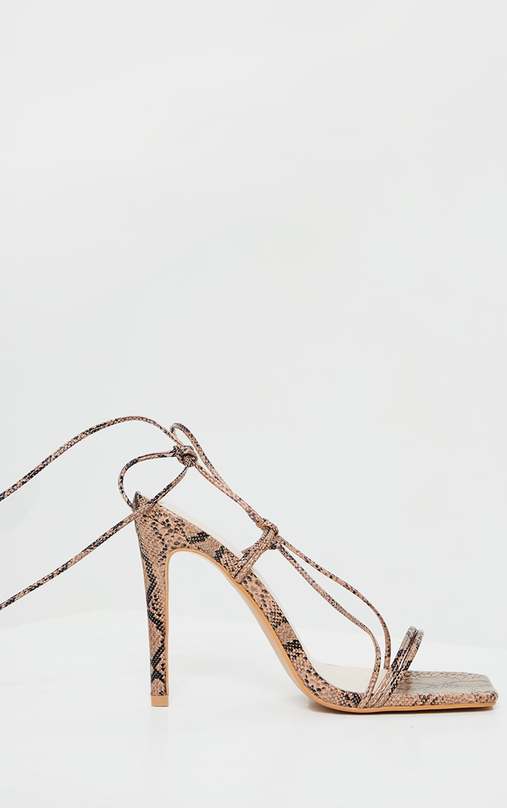 Nude Pu Barely There Lace Up High Heels 3