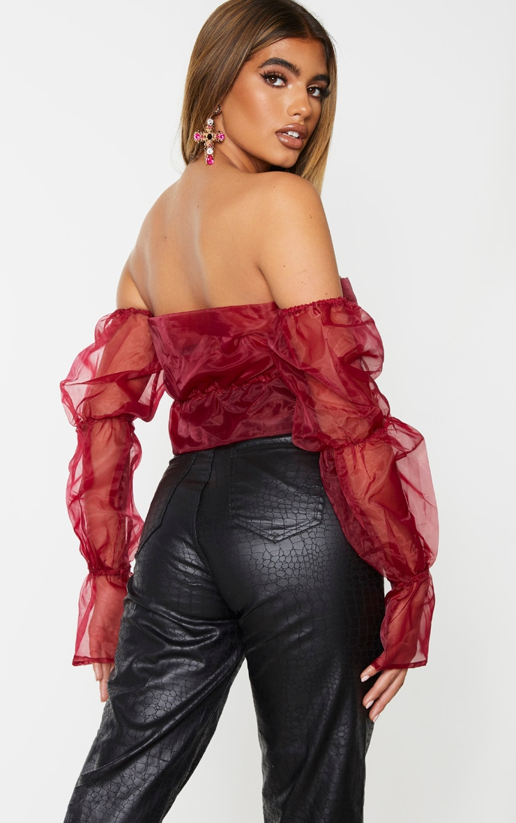 Burgundy Sheer Bardot Ruched Tiered Sleeve Crop Top 2