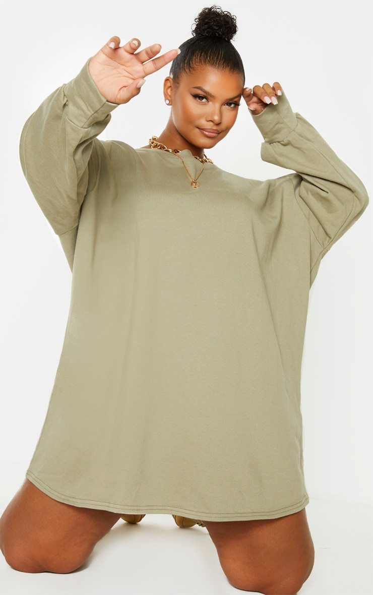 PLT Plus - Robe sweat oversize verte 1