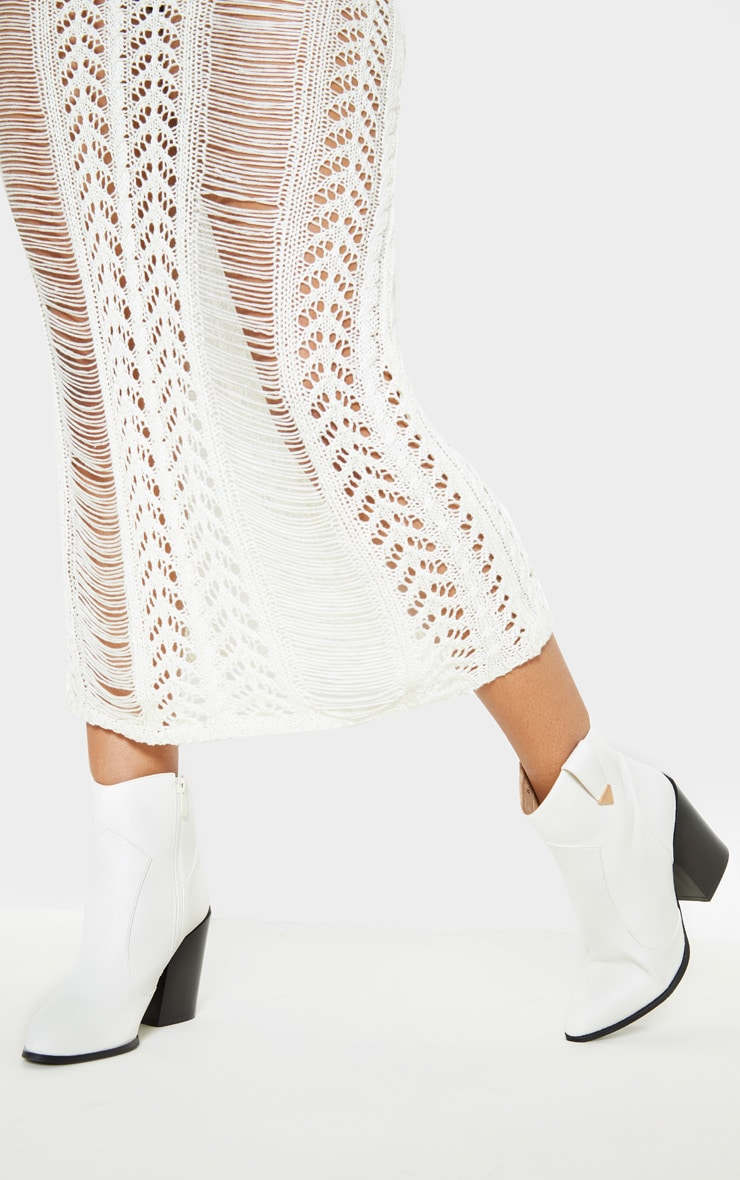 White Western Detail Ankle Boot 1