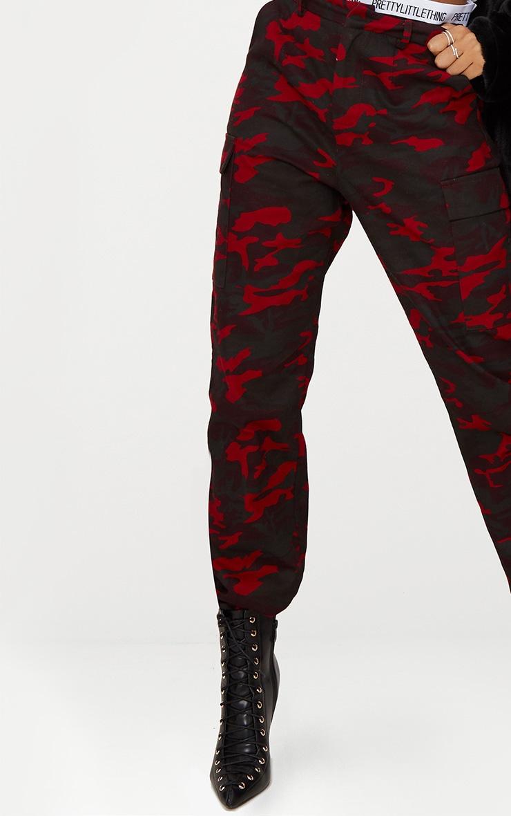 Burgundy Camo Print Cargo Trousers 4