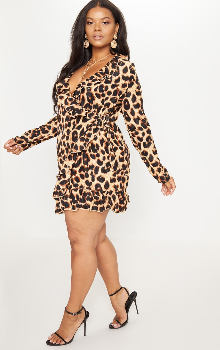 Plus Leopard Ruffle Wrap Dress 4