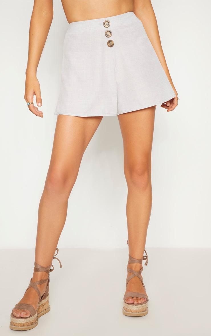 Grey  Button Detail Shorts 2