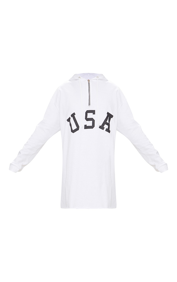 White USA Zip Hooded Sweater Dress 3