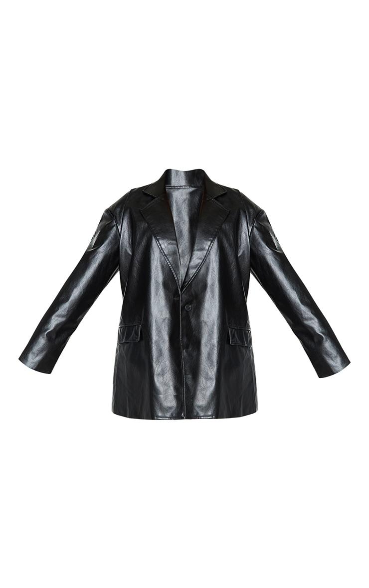 Plus Black Oversized Button PU Blazer 4
