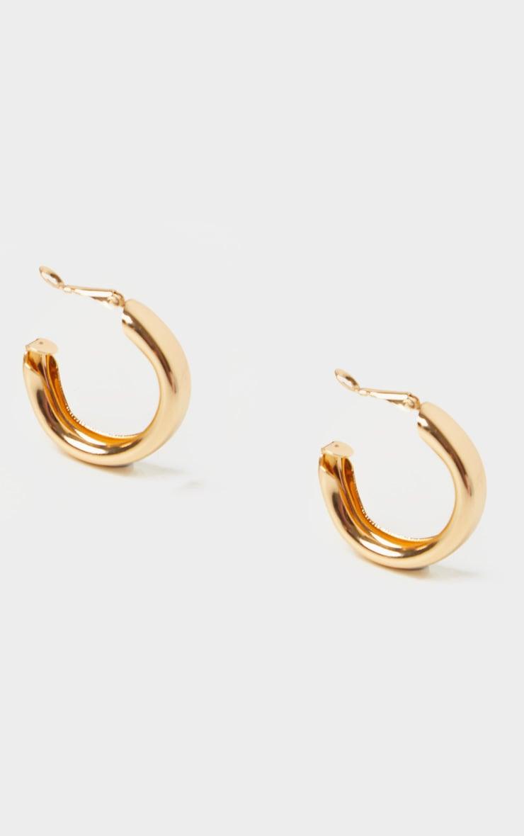 Gold Small Chunky Tubular Hoop Earrings 3