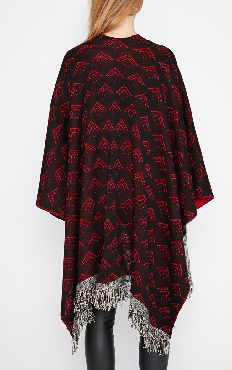Melissa Multi Print Knitted Tassel Poncho -One Size 2