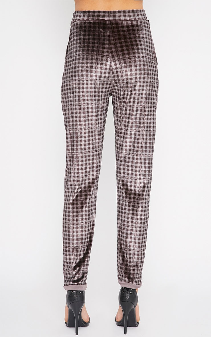 Grete Grey Tonal Gingham Velvet Tapered Trousers 2