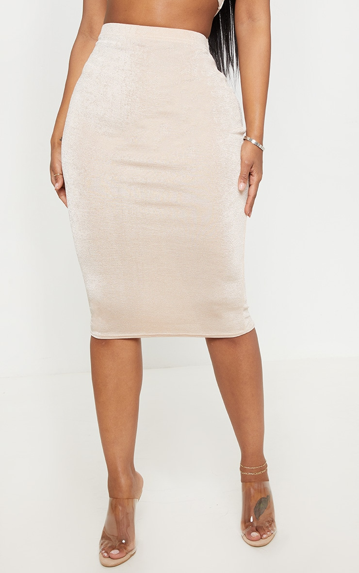 Shape High Waisted Nude Slinky Midi Skirt  2