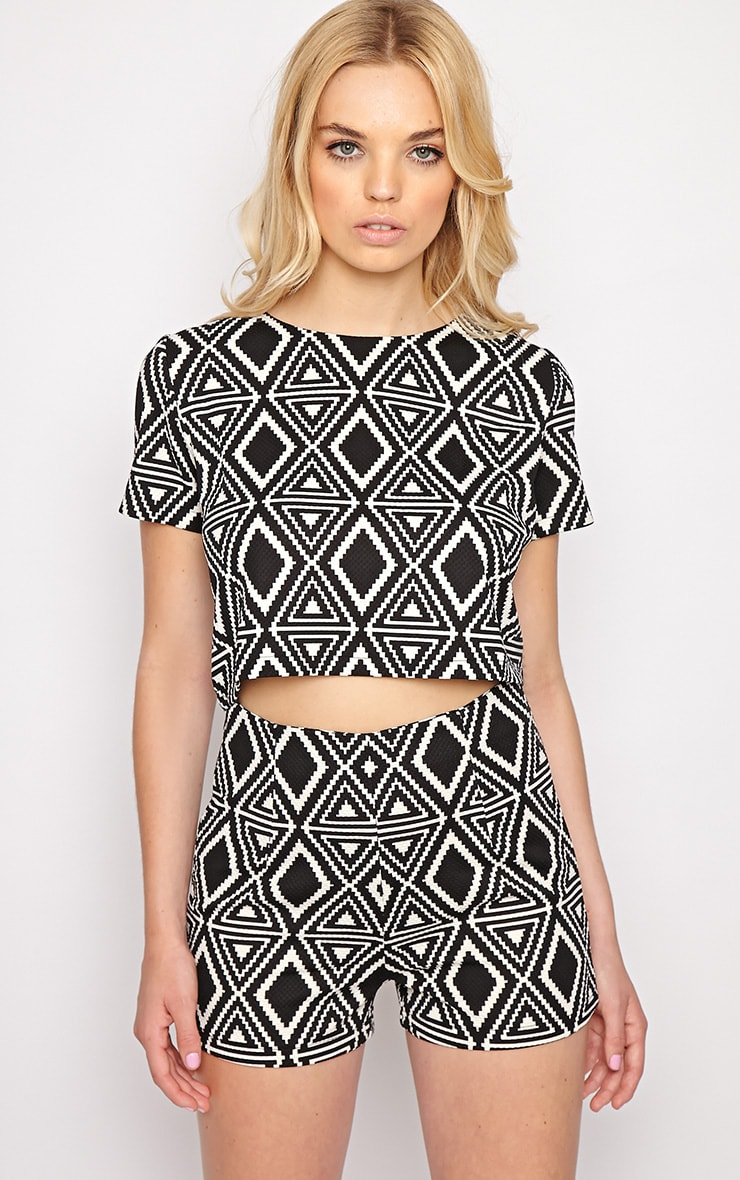 Avery Monochrome Aztec Print Crop Top  4