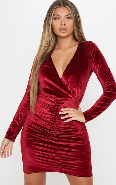08837af5f1 Burgundy Velvet Plunge Bodycon Dress
