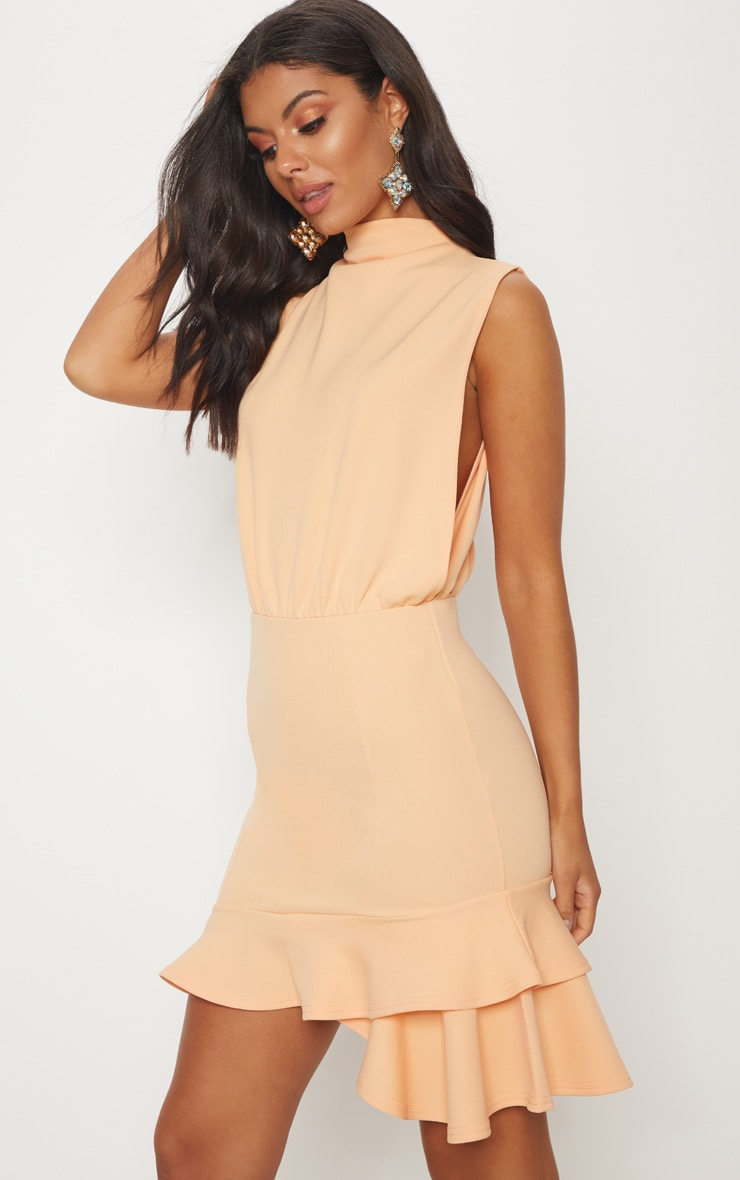 Tangerine High Neck Frill Hem Bodycon Dress 1