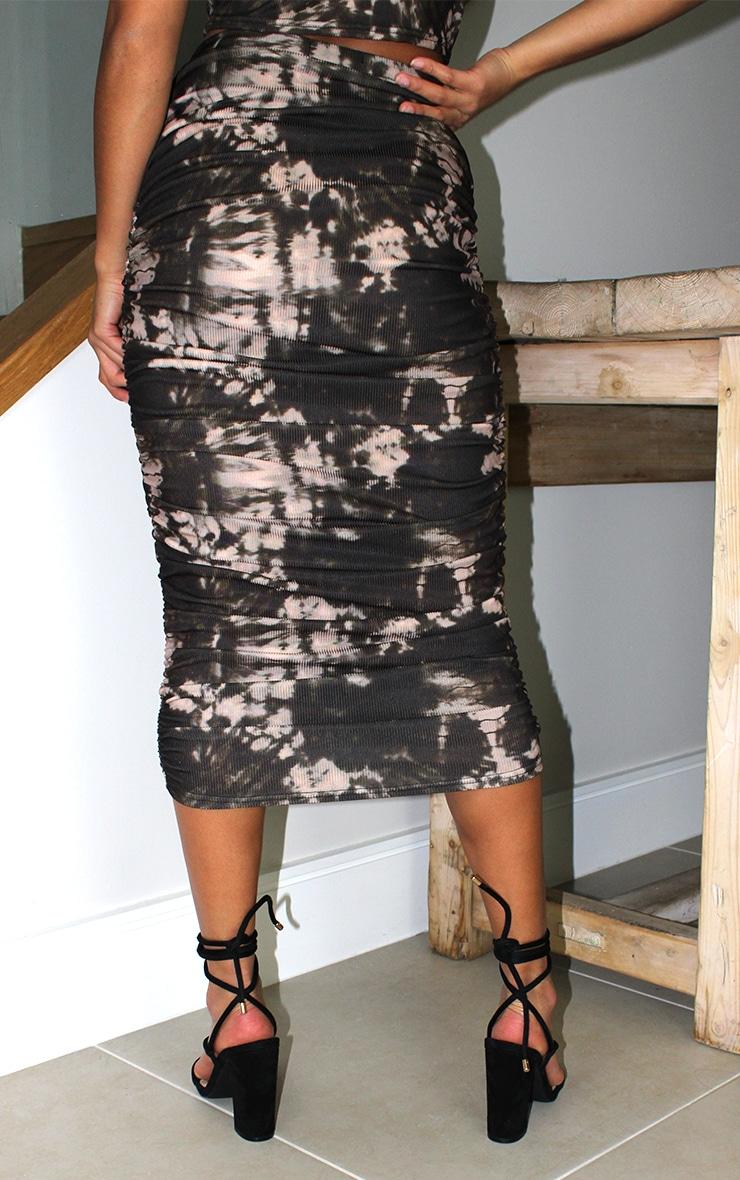 Petite - Jupe mi-longue froncée noire imprimé tie & dye 3