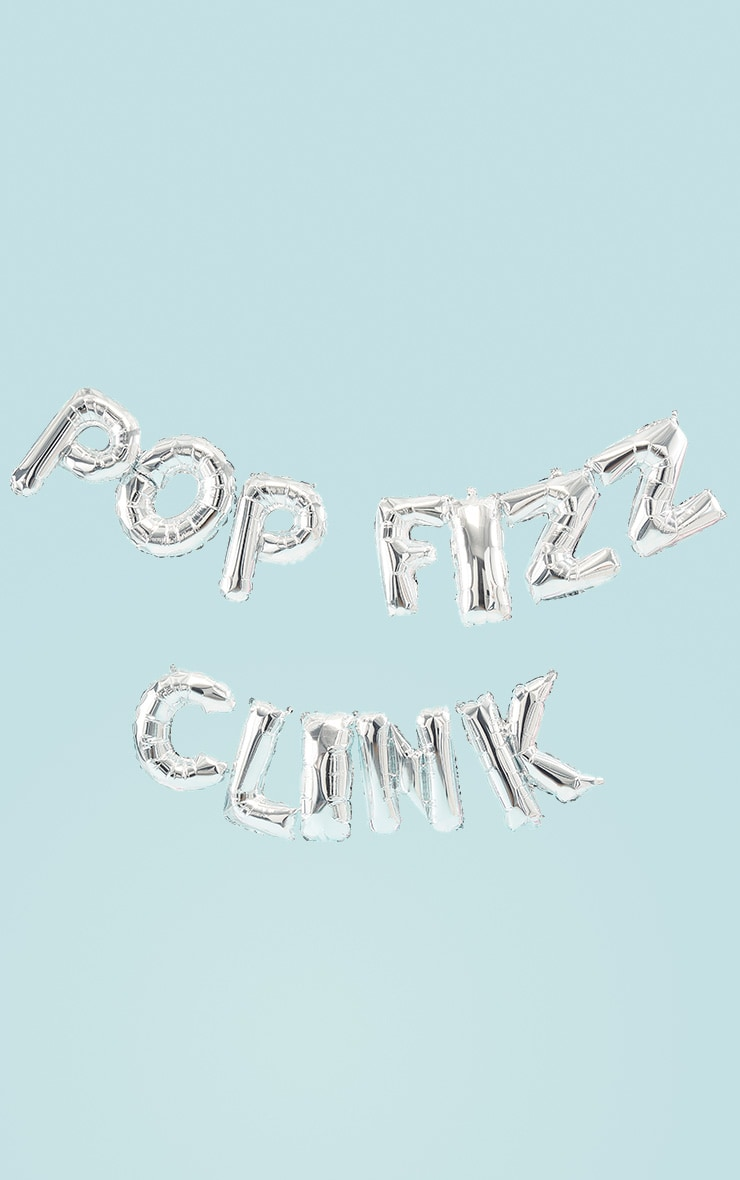 Ginger Ray Balloon Bunting Pop Fizz Clink - Silver