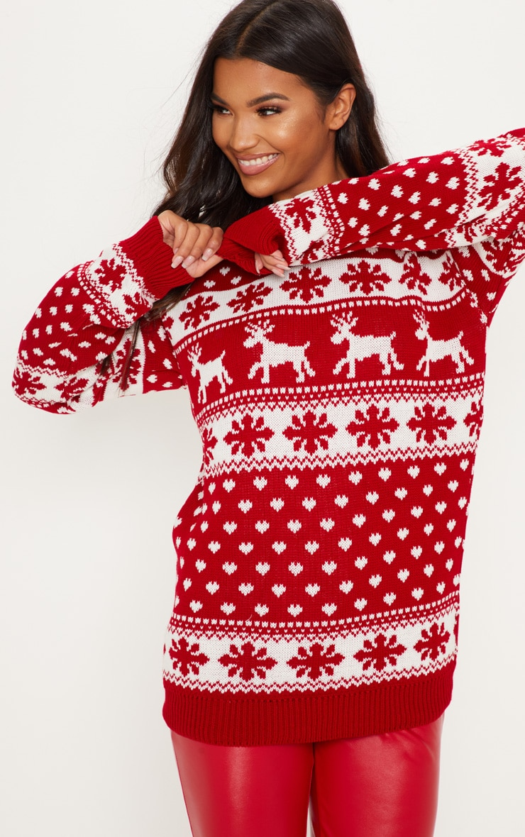 Red Fairisle Knitted Jumper 1