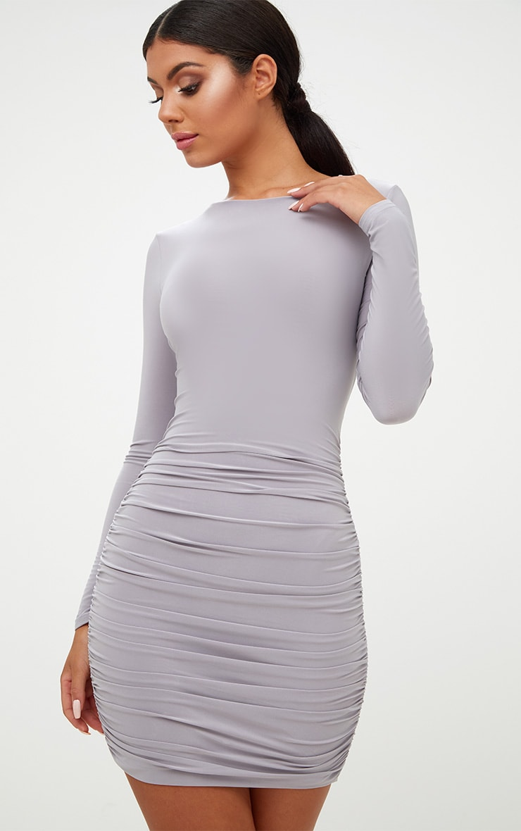 Ice Grey Long Sleeve Ruched Open Back Bodycon Dress 2