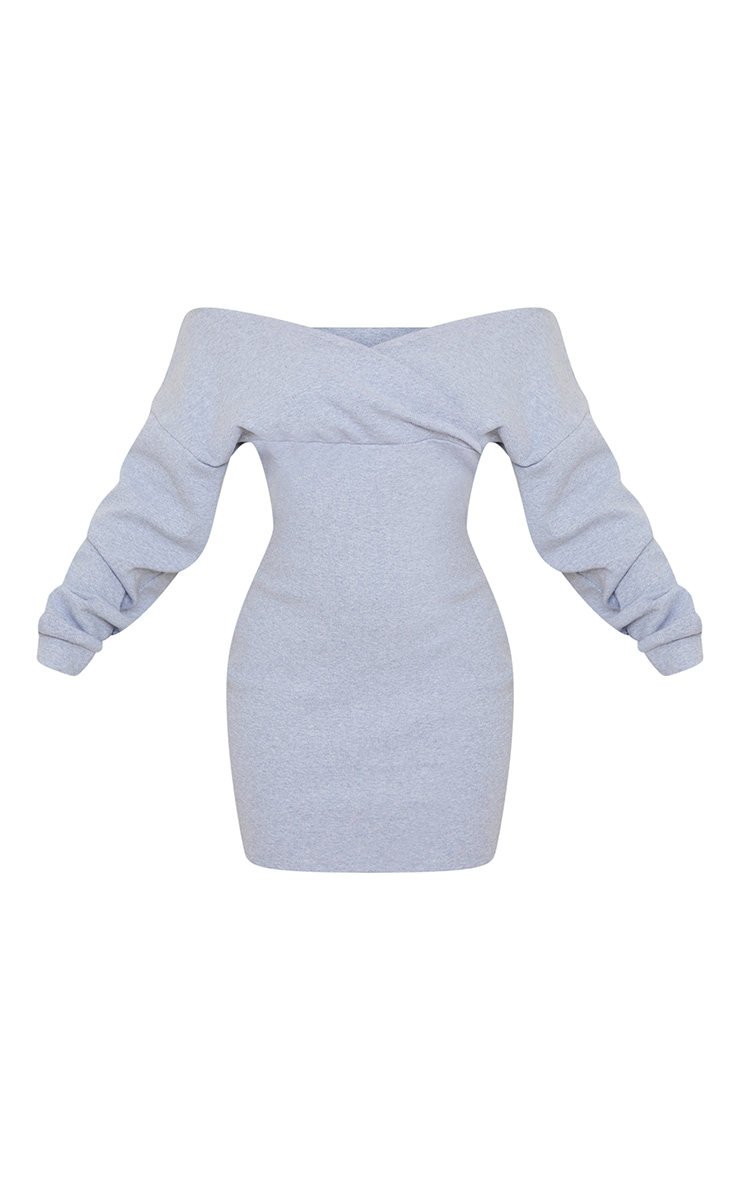 Grey Bardot Wrap Detail Long Sleeve Bodycon Dress 5