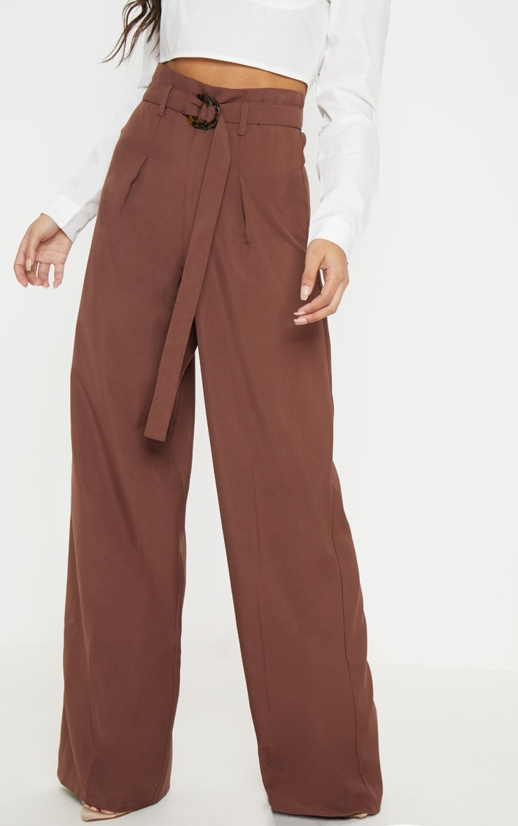 Chocolate Tortoise Shell Ring Belt Wide Leg Pants 2