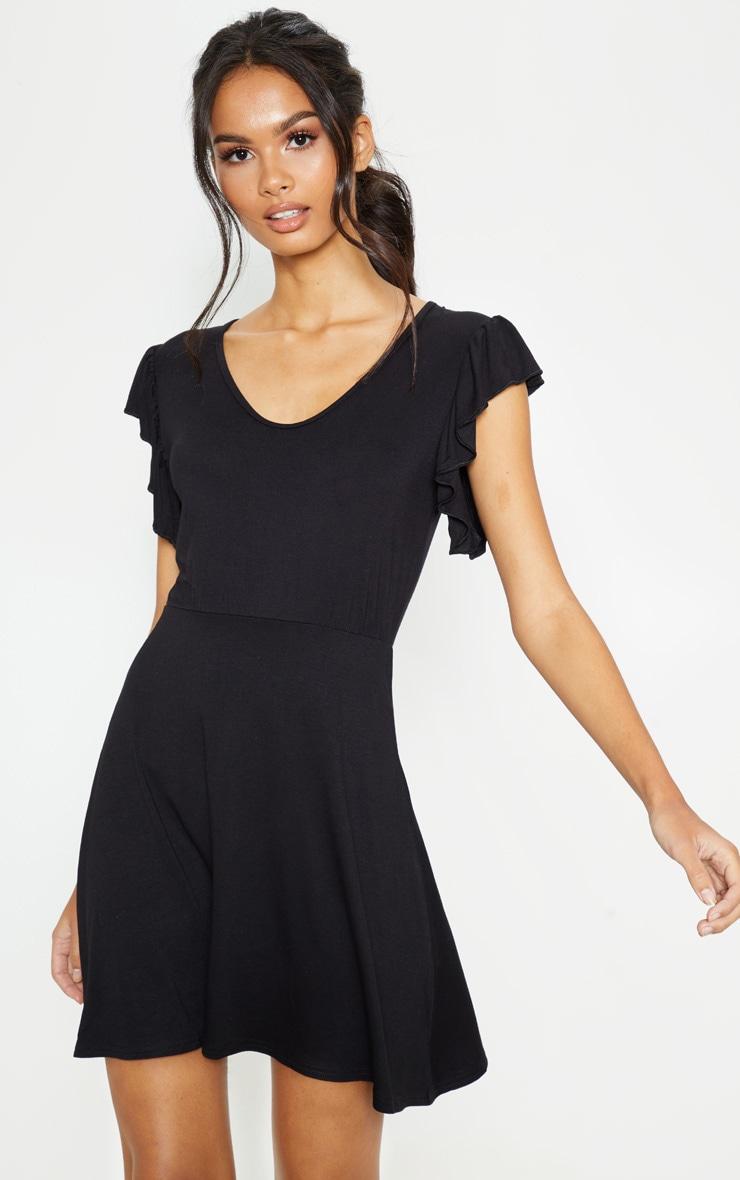 Black Frill Sleeve Shift Dress 1