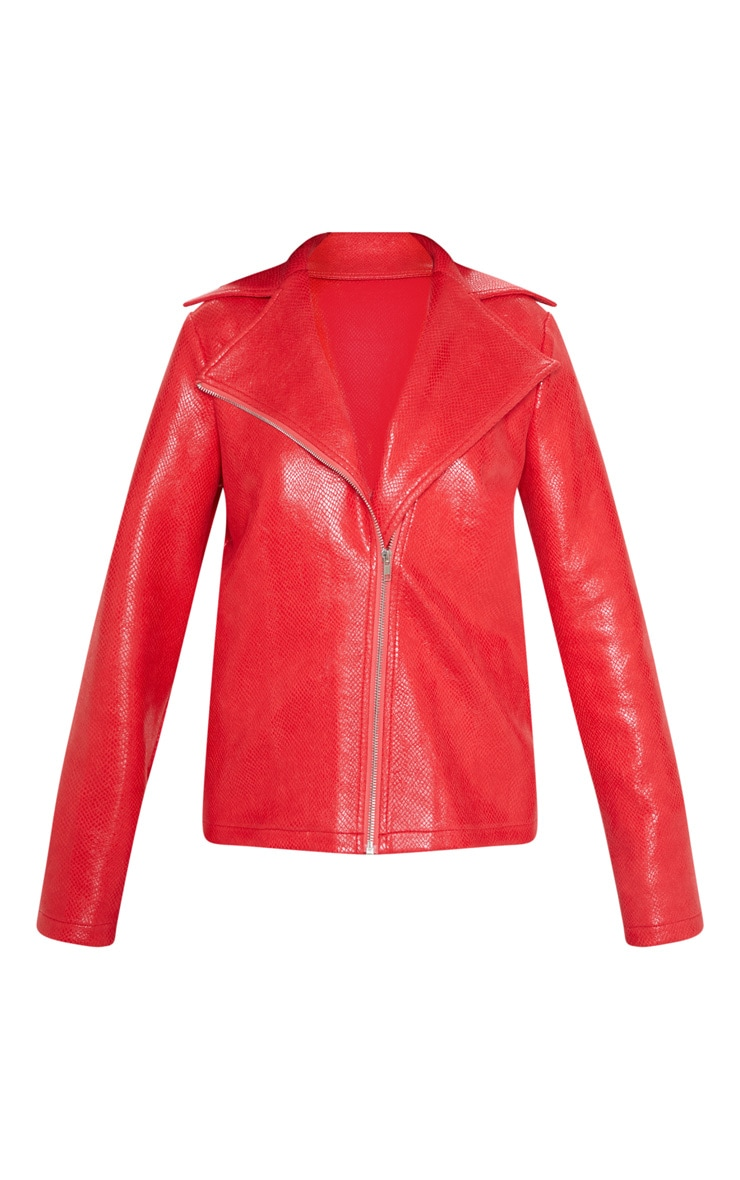 Red Snake PU Biker Jacket  3