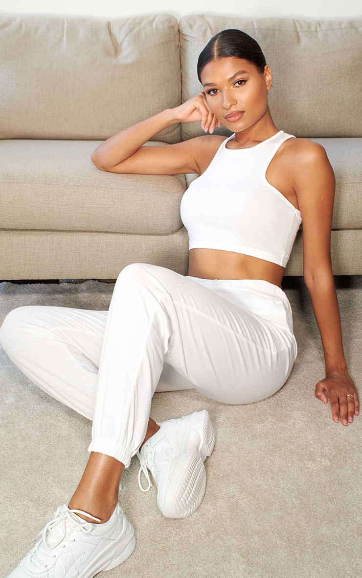 White Lightweight Racer Back Crop Top & Jogger Set 3