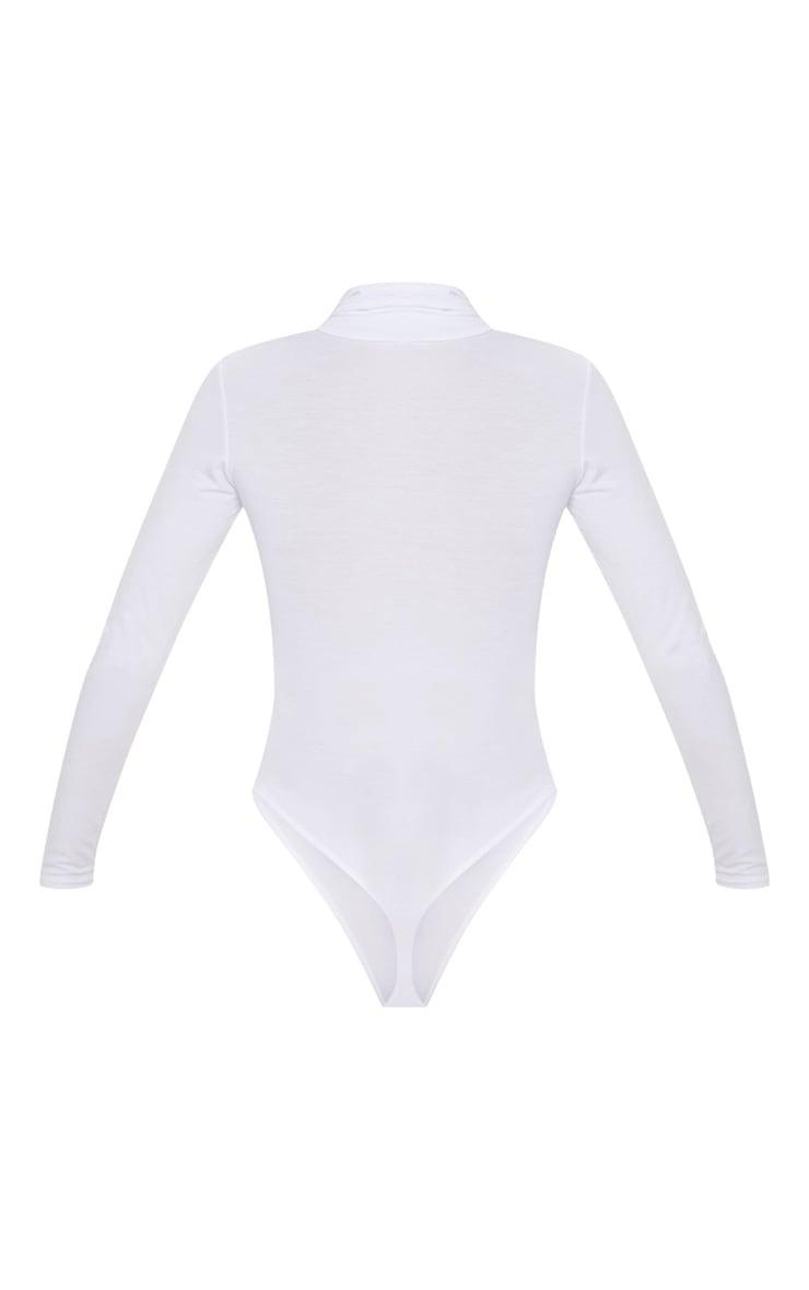 Basic White Cotton Blend Roll Neck Bodysuit 4