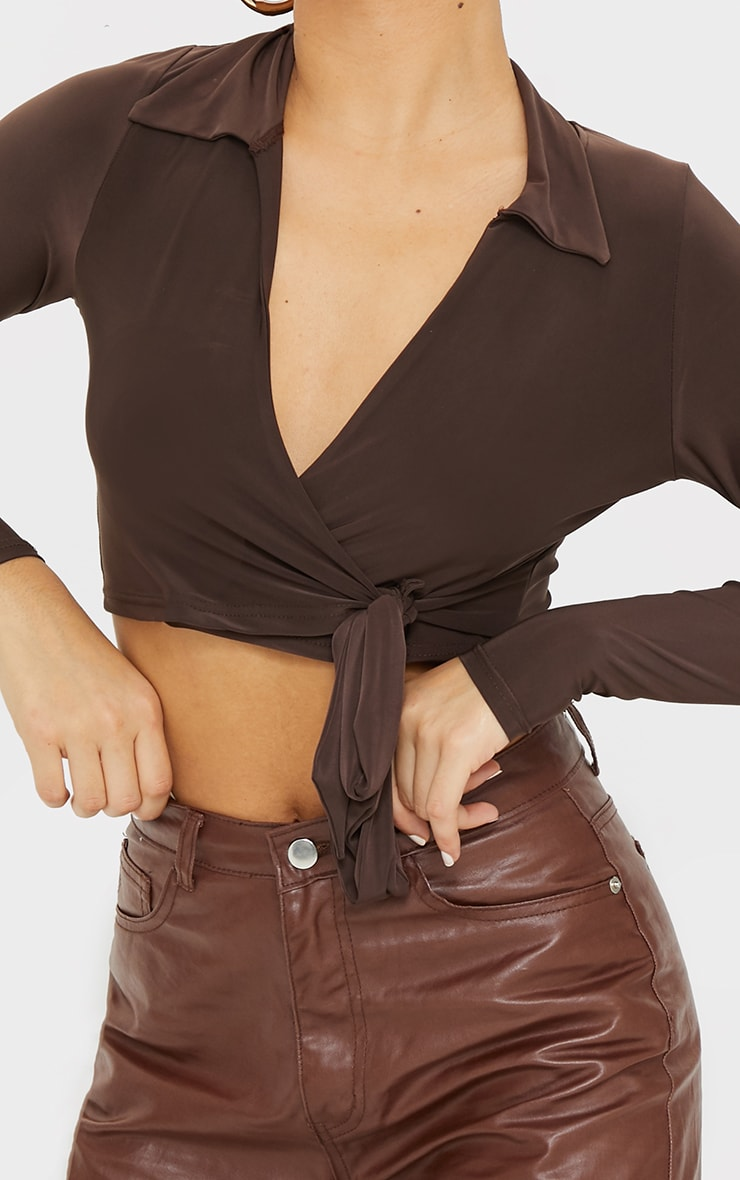 Chocolate Slinky Tie Front Cropped Blouse 4