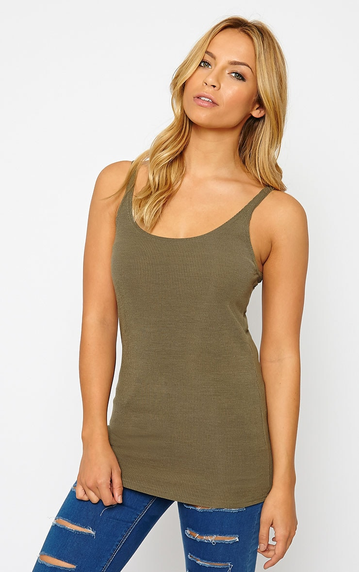 Basic Khaki Ribbed Vest Top 1