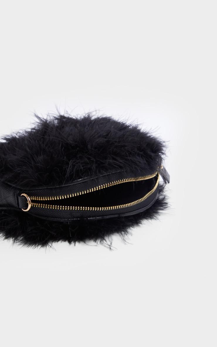 Black Marabou Cross Body Bag 5