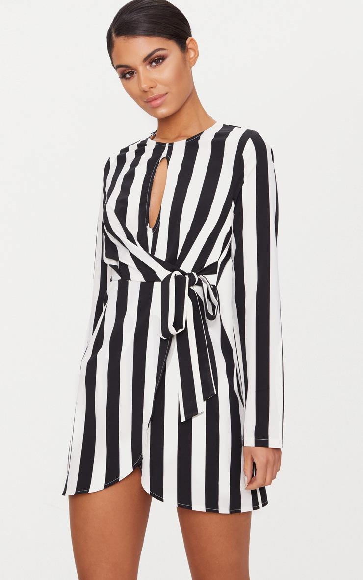 Black Stripe Wrap Bodycon Dress 1