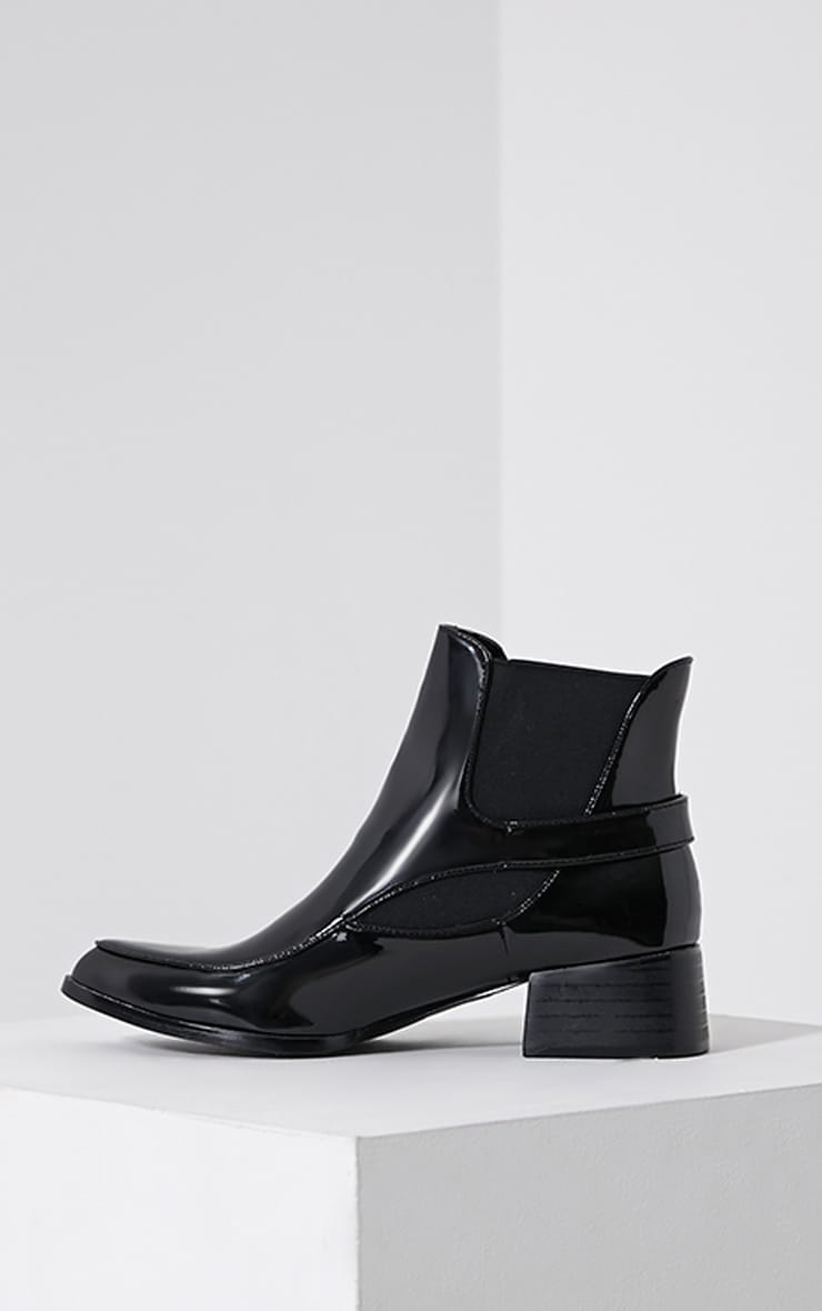 Nynette Black Patent Pointed Ankle Boots 4