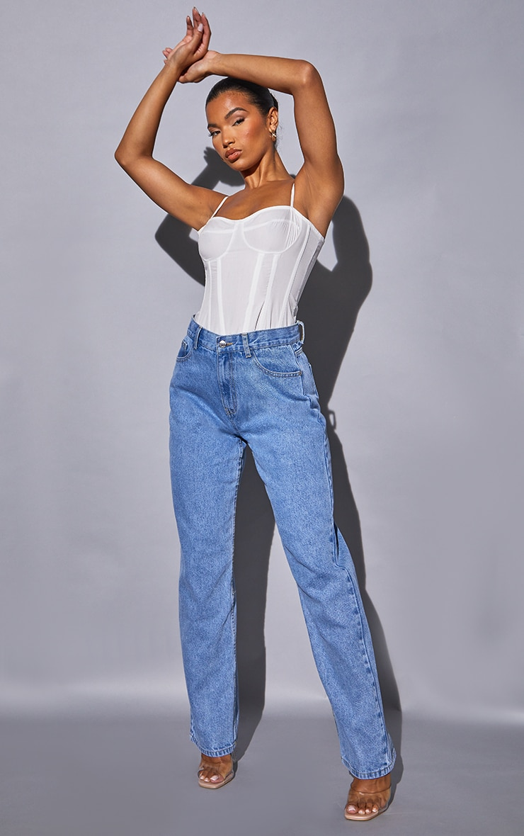 Recycled Light Blue Wash Basic Low Rise Baggy Boyfriend Jeans 1