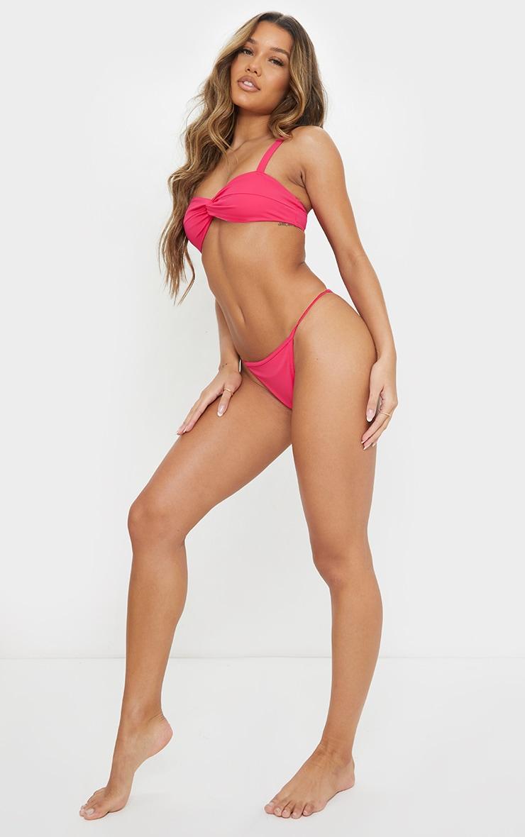 Bright Pink Twist Front Tanga Bikini Set 3