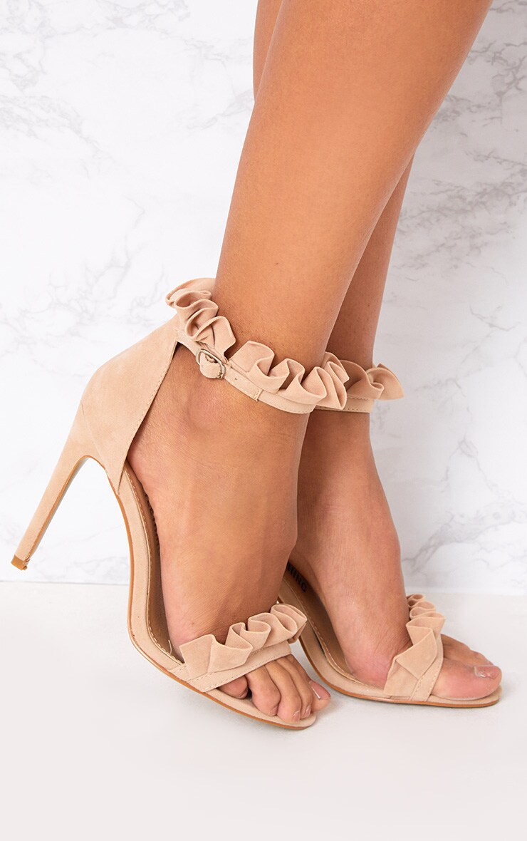 Nude Frill Strap Heels 1
