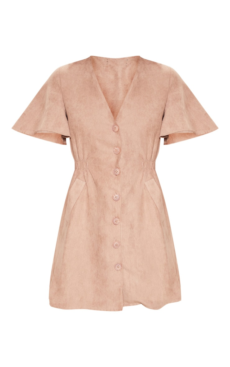 Taupe Faux Suede Button Front Shirred Side Shift Dress 3