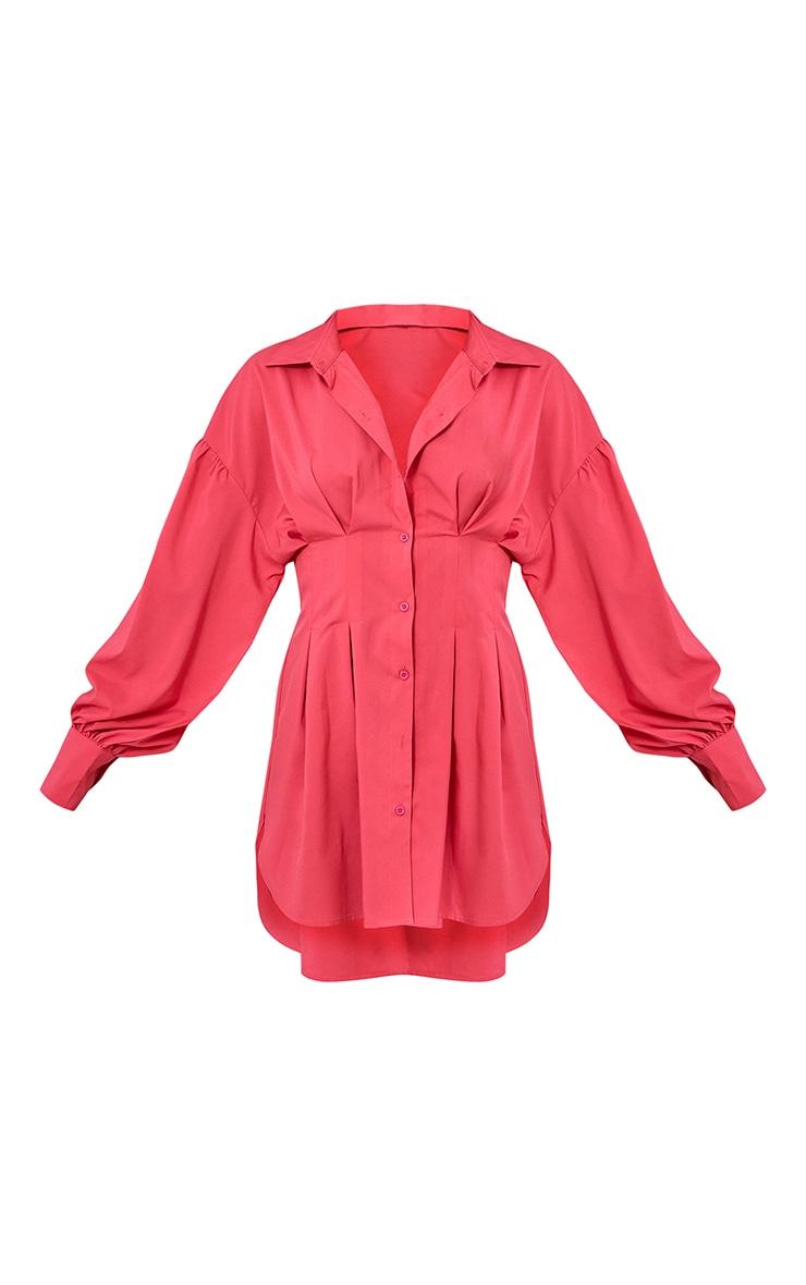 Hot Pink Fitted Waist Balloon Sleeve Shirt Dress 5